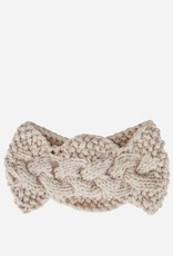 HEADBAND-CABLE KNIT W/BUTTON