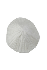 HAT-BERET-CROCHETED, WHITE MED WEIGHT
