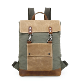 BACKPACK-HILLSIDE- CANVAS W STRAPS, POCKET, RECYCLED HARDWARE