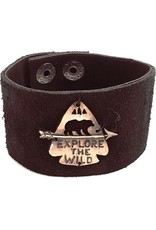 Faire/Anju Jewelry BRACELET-LEATHER CUFF, EXPLORE THE WILD