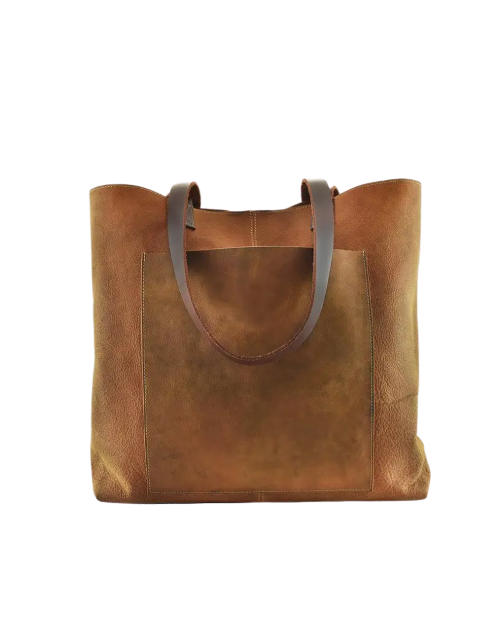 """BAG-TOTE  """"PASAO""""BROWN LEATHER W/EXTERIOR POCKET"""