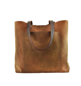 "BAG-TOTE  ""PASAO""BROWN LEATHER W/EXTERIOR POCKET"