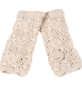 GLOVES-HANDWARMERS-FLOWER CROCHET