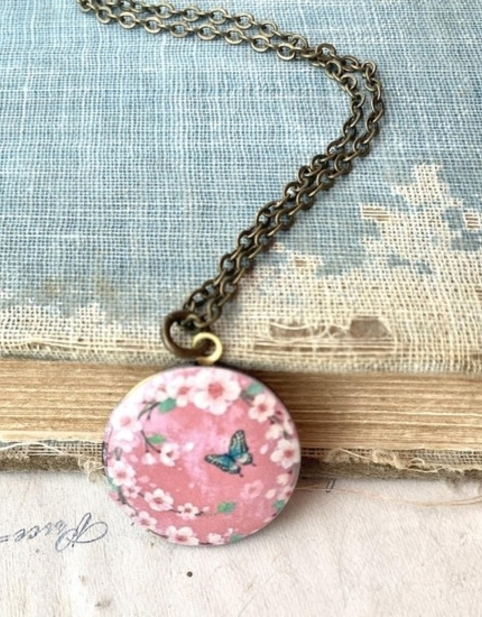 NECKLACE-LOCKET-PINK CHERRY BLOSSOM FLOWERS