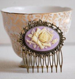 HAIR COMB-LILAC ROSE, ROMANTIC LAVENDER FLOWER