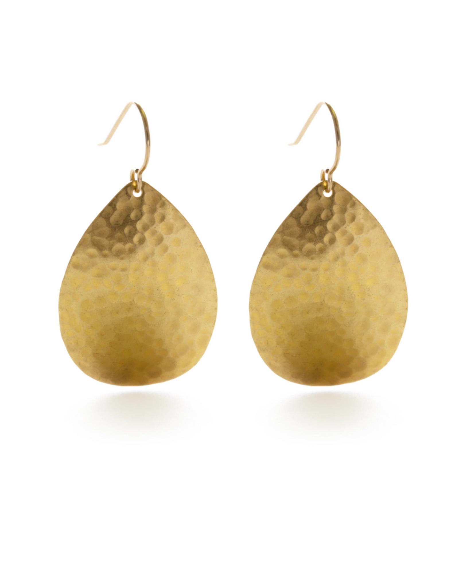 Faire/Amano Studio EARRINGS-HAMMERED TEARDROPS, GOLD