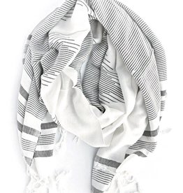"Faire/Fair Anita SCARF ""ROLA"", HAND WOVEN FAIR TRADE WHT STRIPED, EGYPTIAN"