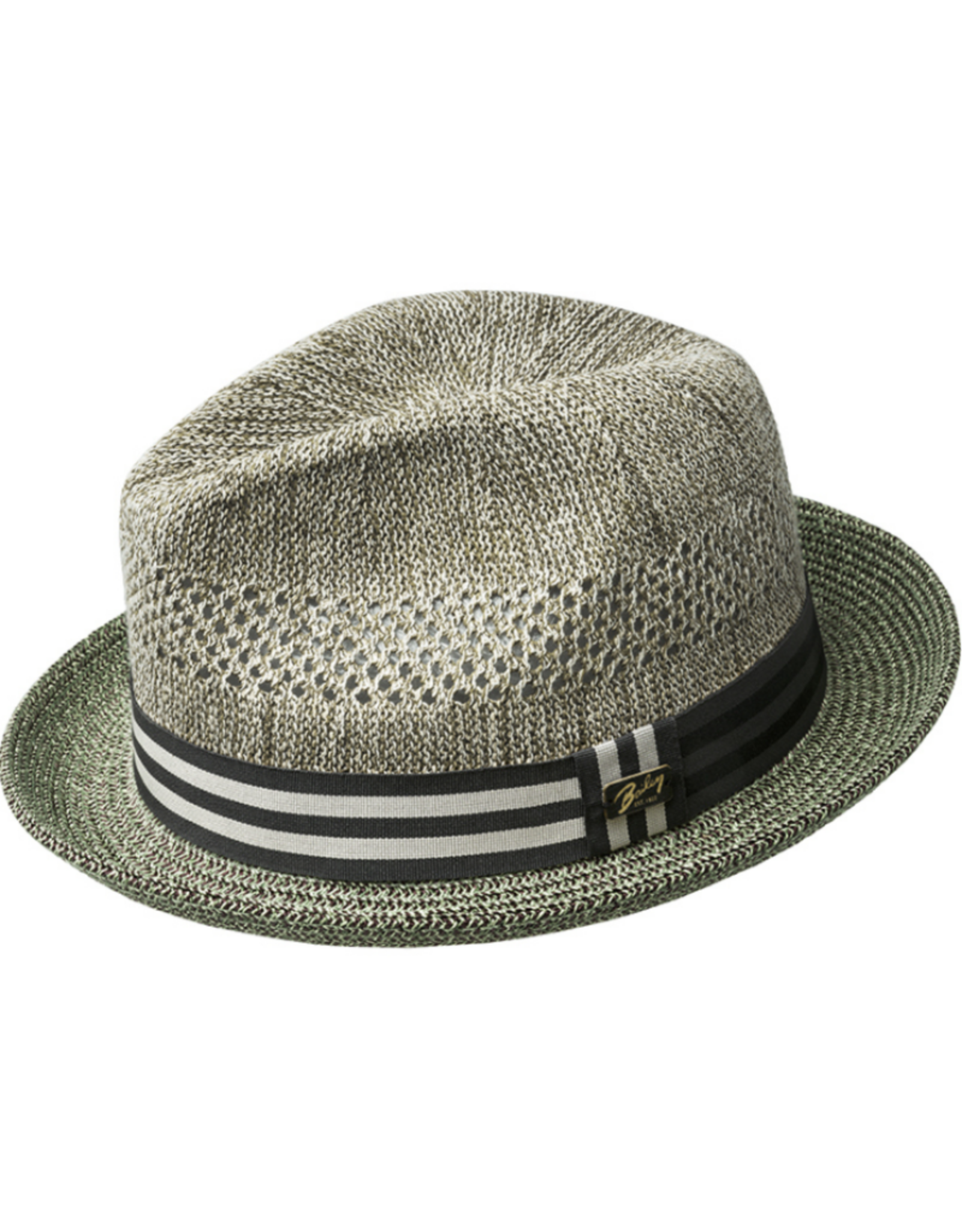 "Bailey Hat Co. HAT-FEDORA  SMALL BRIM ""BERLE"", STRAW W STRIPED BAND"