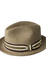 """Bailey Hat Co. HAT-FEDORA SMALL BRIM """"SALEM""""  STRAW  W/ STRIPEDBAND"""