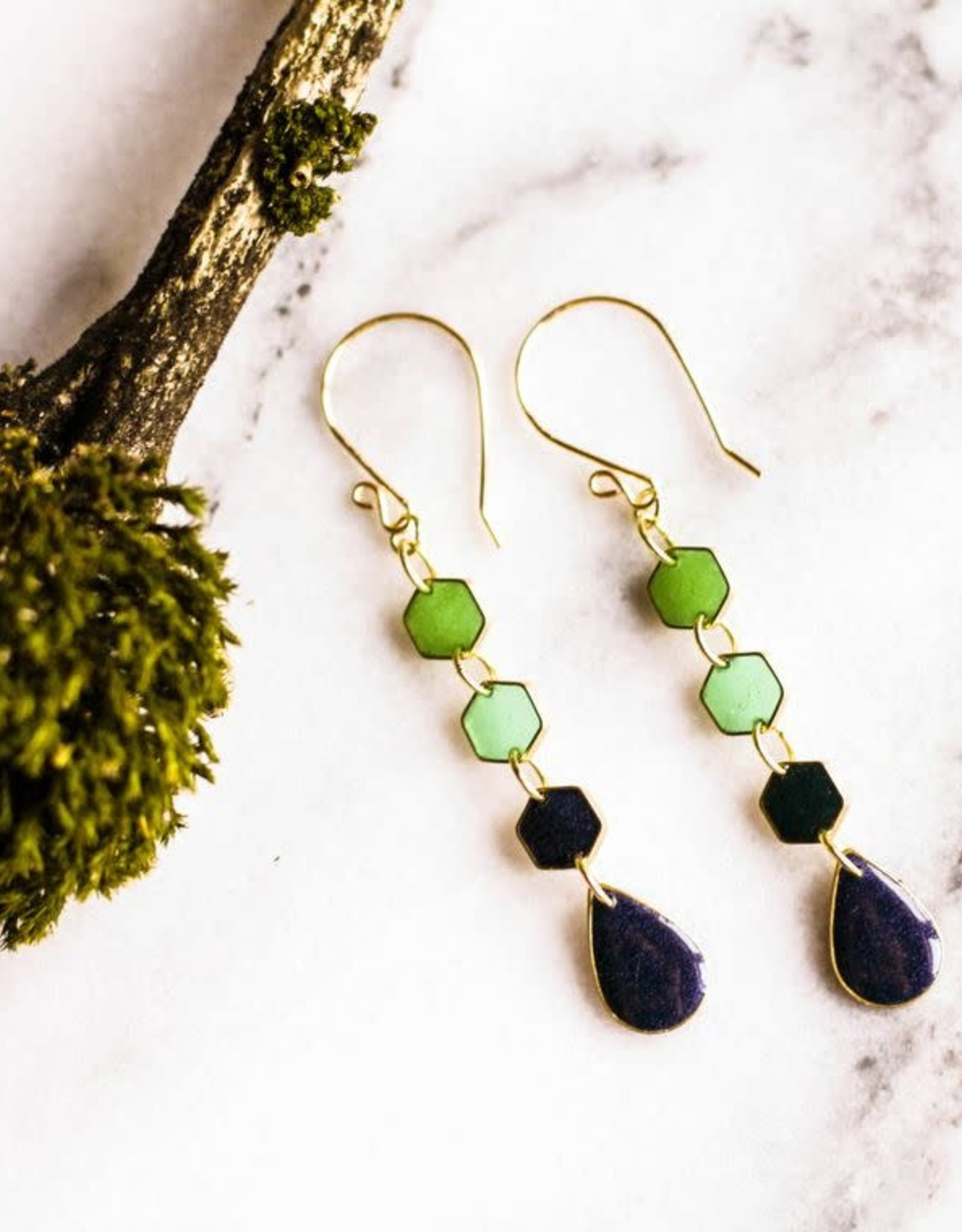 """ABOUND/NO MAN'S LAND EARRINGS """"RAINY DAY"""", BRASS, GREEN SHADES"""