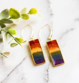 """ABOUND/NO MAN'S LAND EARRINGS """"RAINBOW RECTANGLE"""" BRASS"""