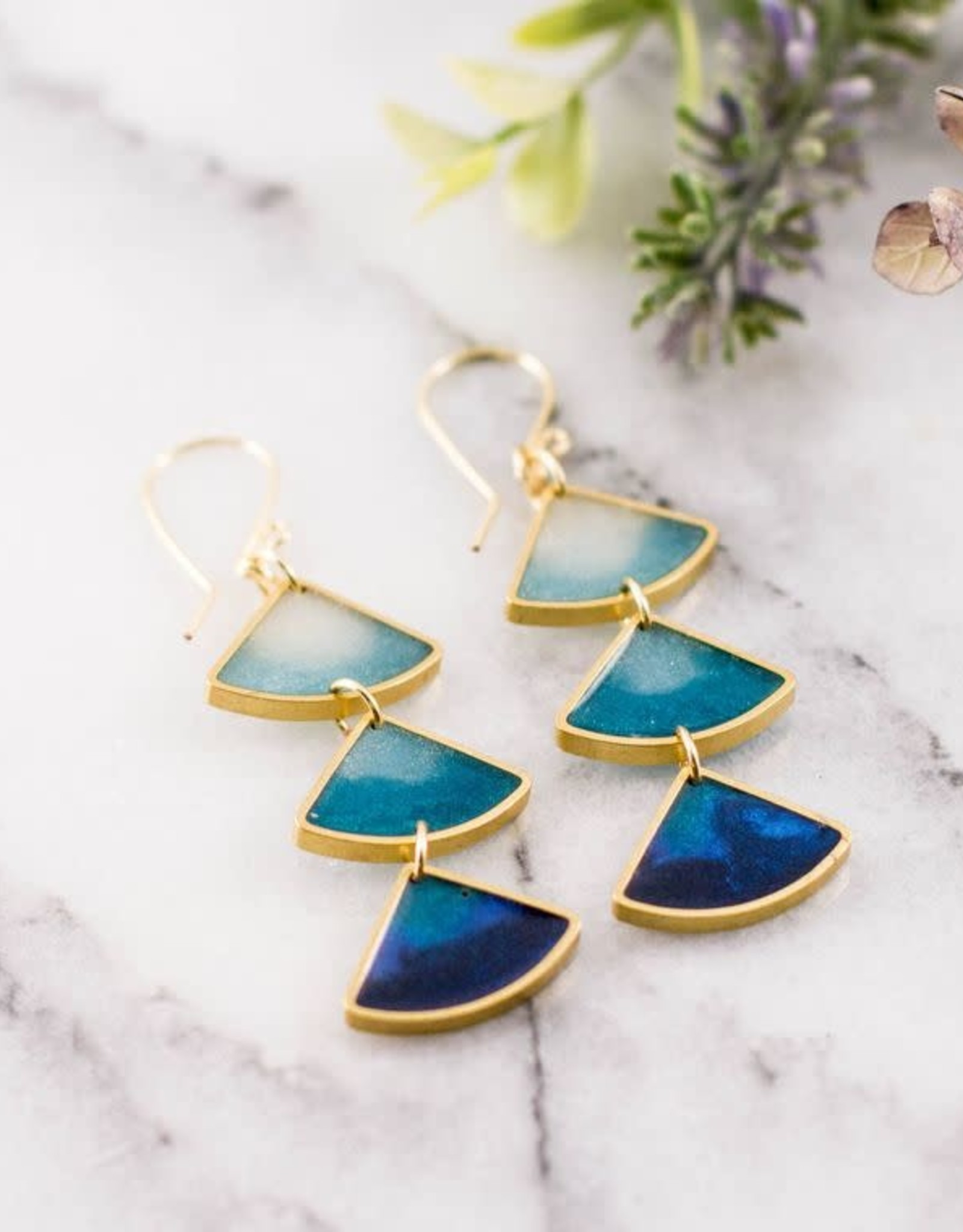 """ABOUND/NO MAN'S LAND EARRINGS """"OCEAN OMBRE"""" BLUE SHADES"""