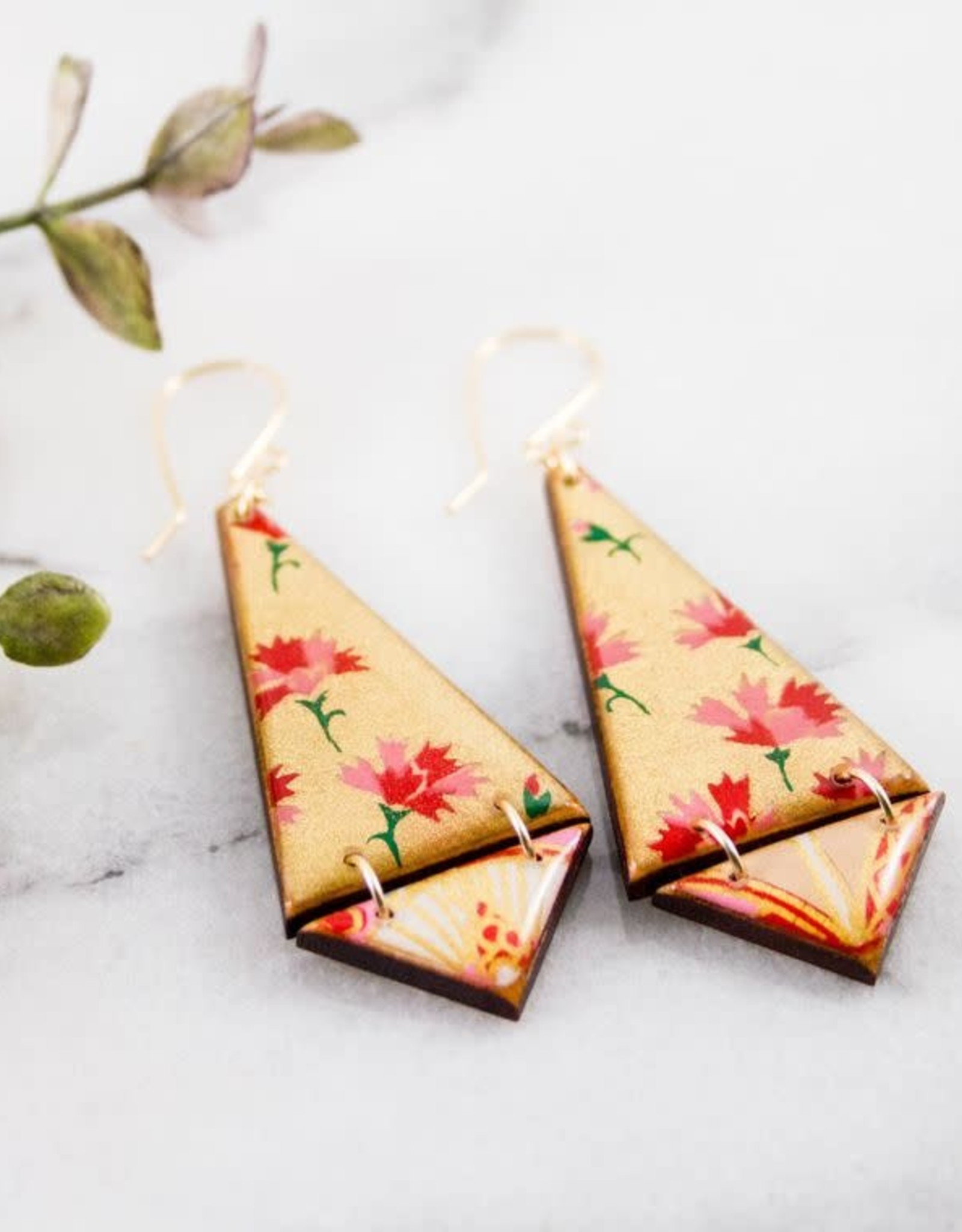 """ABOUND/NO MAN'S LAND EARRINGS """"JAPANESE DOUBLE TRIANGLE"""" VINTAGE PAPER, RESIN"""