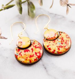 """ABOUND/NO MAN'S LAND EARRINGS  """"JAPANESE DOUBLE CIRCLE"""",  VINTAGE PAPER, RESIN"""