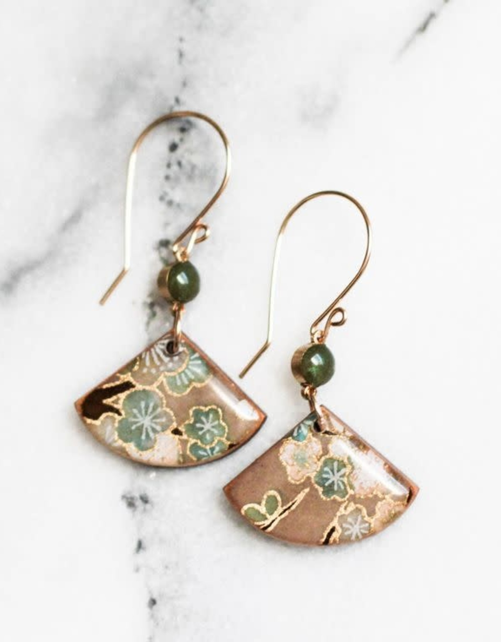 """ABOUND/NO MAN'S LAND EARRINGS """"FLORAL FAN"""", VINTAGE PAPER , RESIN"""