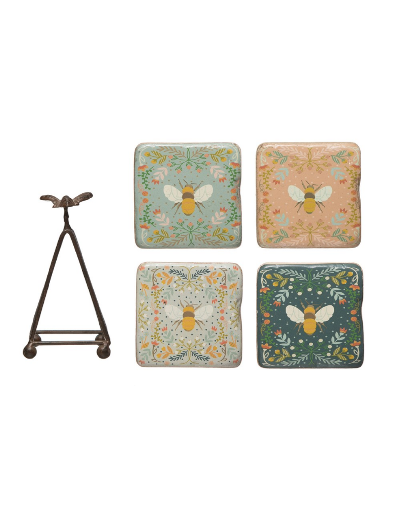 """COASTERS-BEES ON PRINT BACKGROUND W/EASEL T, 3-1/2"""" x 5-1/4""""H"""