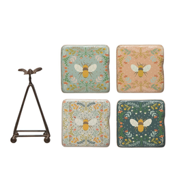 "COASTERS-BEES ON PRINT BACKGROUND W/EASEL T, 3-1/2"" x 5-1/4""H"