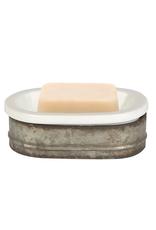 "SOAP DISH-METAL & STONEWARE, 6 3/4""L"