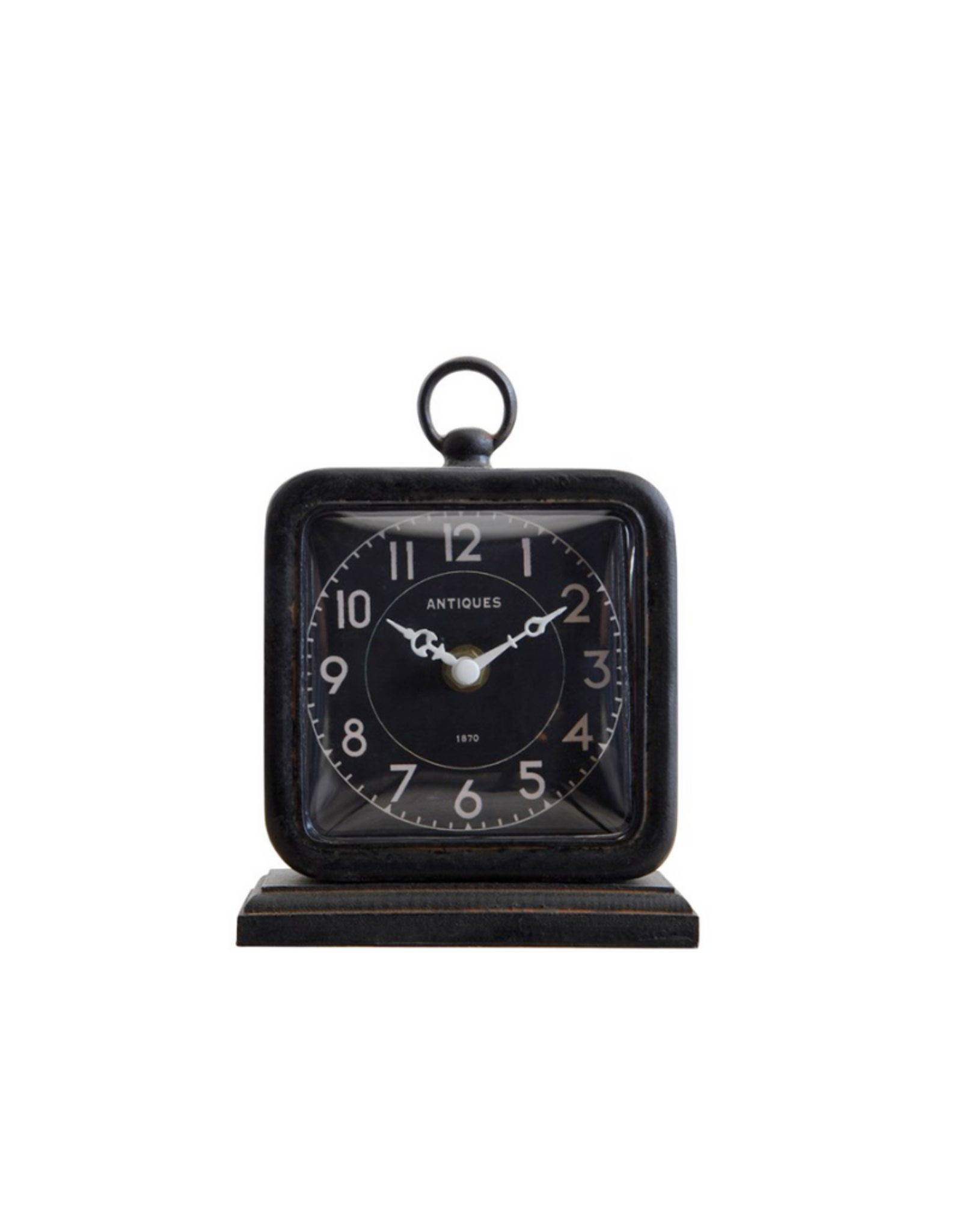 """CLOCK-TABLE STYLE-PEWTER, BLACK METAL, 5""""  X 6 3/4"""""""