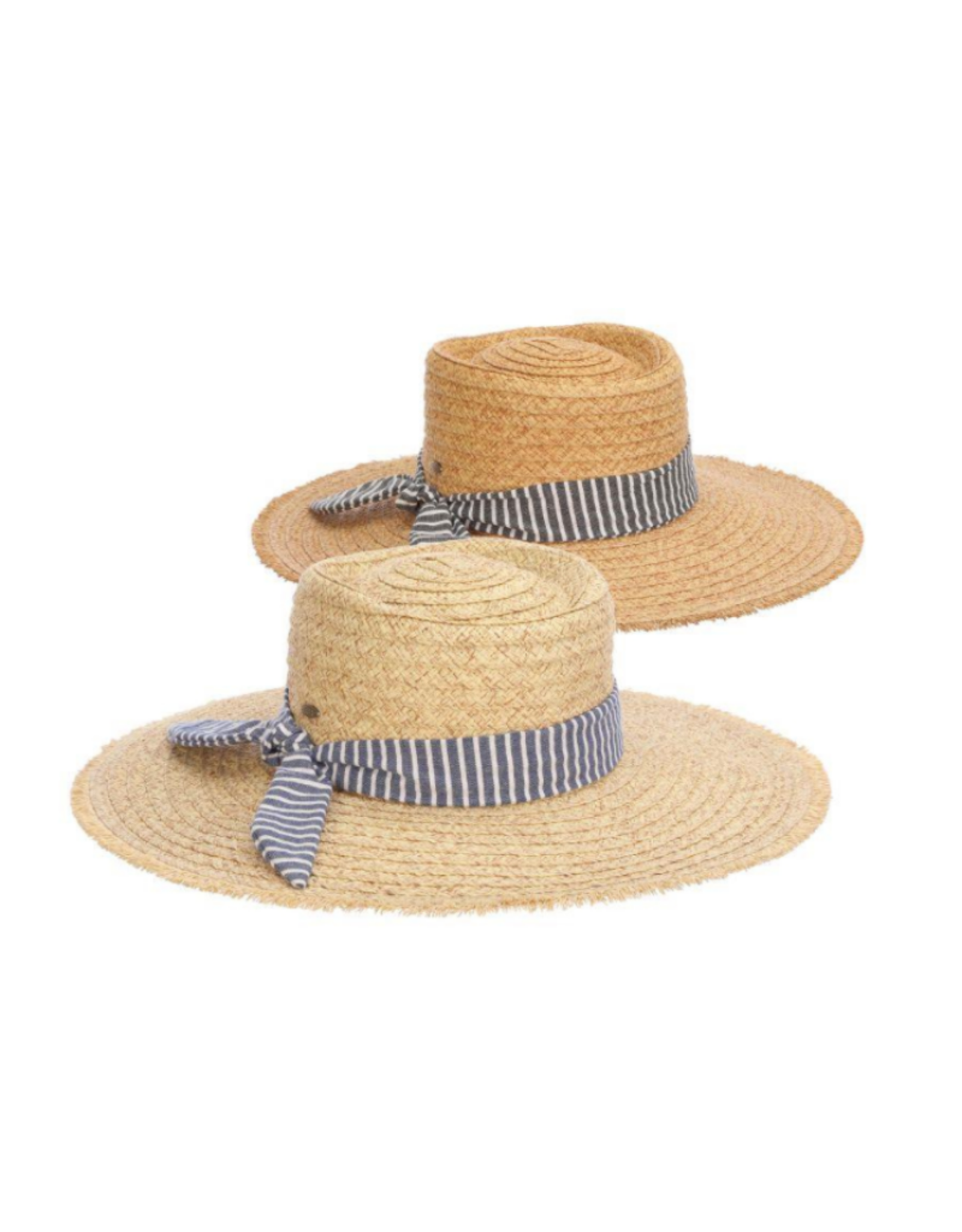 """HAT-BOATER """"BARNESE"""" W/NAVY STRIPED BAND"""