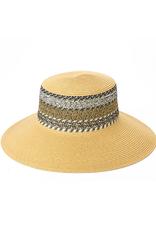 HAT-WIDE BRIM-NATURAL W/WOVEN STRIPE SIDES