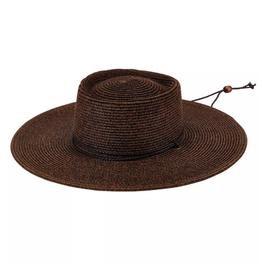 HAT-WIDE BRIM-BROWN SUN W/ CORD, ULTRABRAID