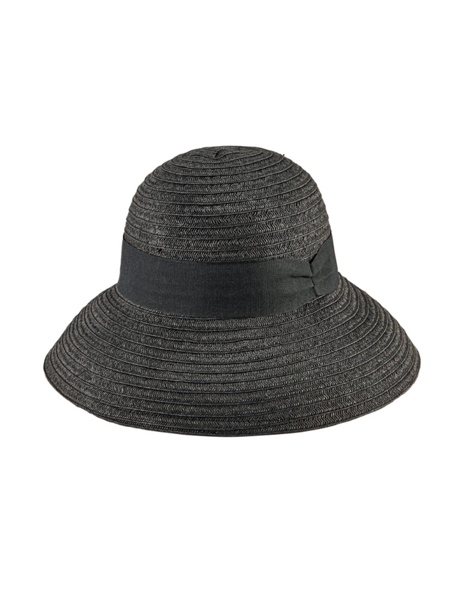"HAT-CLOCHE W/ GROSGRAIN BAND, 4"" BRIM, PAPER MIX"