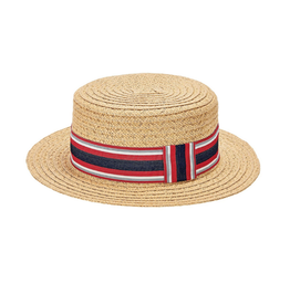 HAT-CLASSIC-BOATER-STRIPED GROSGRAIN BAND, PAPER BRAID