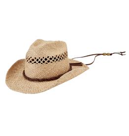 HAT-COWBOY-OPEN WEAVE W/ CORD, RAFFIA