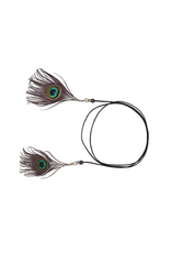HAT TRIM-BAND W/FEATHER & BEAD PEACOCK