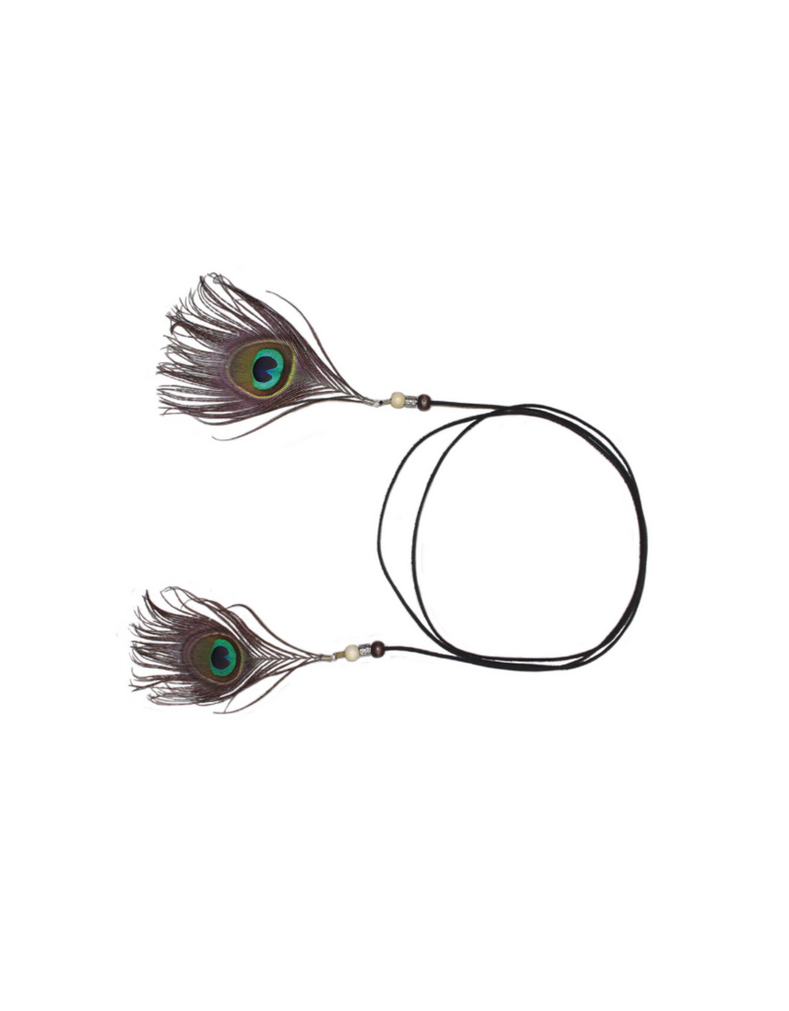 HAT-TRIM-FEATHER & BEAD PEACOCK