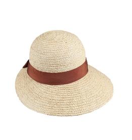 HAT-SM BACK BRIM- NATURAL W/ BROWN BAND/BOW, RAFFIA
