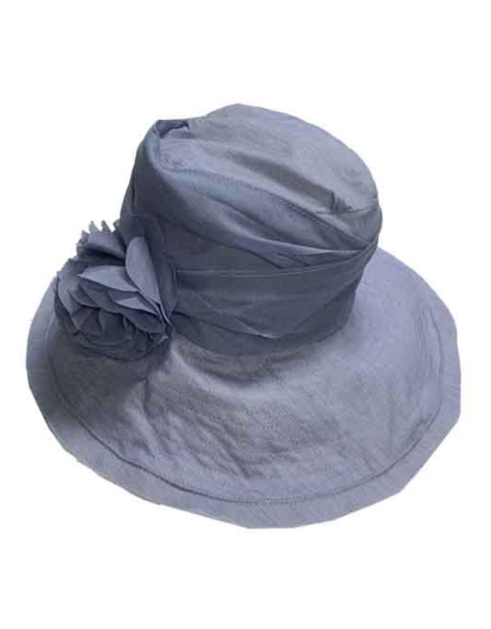 "HAT-BUCKET, 4.5"" SLANTED BRIM, PLEATED CLOTH BAND"