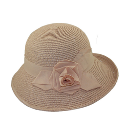 HAT-CLOCHE-WIDE BAND W/ BOW, PAPER BRAID