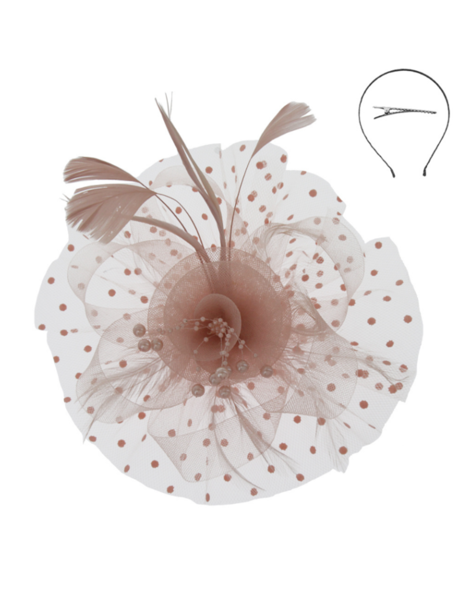 FASCINATOR- FLORAL FEATHER W/ DOTTED VEIL MAUVE