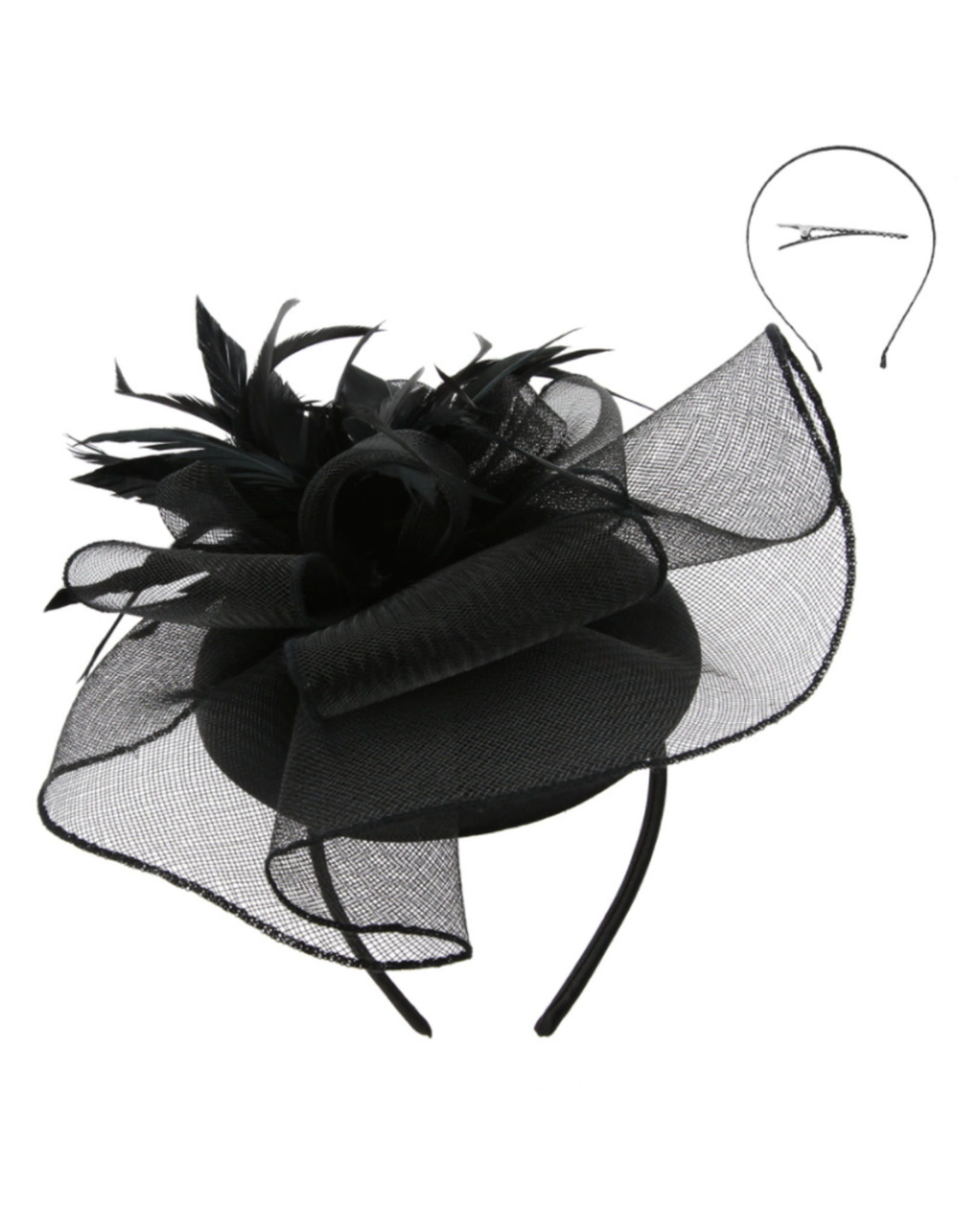 FASCINATOR-WAVY MESH FLORAL W/ FEATHERS, BLACK