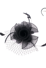 FASCINATOR-ROSE W/VEIL W/COQUE FEATHERS BLK