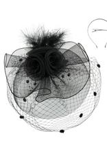 FASCINATOR-3 LAYERS FLOWER W/MESH VEIL  W/FEATHERS