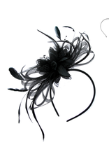 FASCINATOR-FLOWERS & COQUE FEATHERS  BLACK HB
