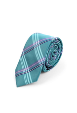 NECKTIE-SLIM-BLUE GREEN PLAID, POLY