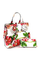Lovelypurse4u HANDBAG W/WALLET FLOWER BUTTERFLY, PATENT