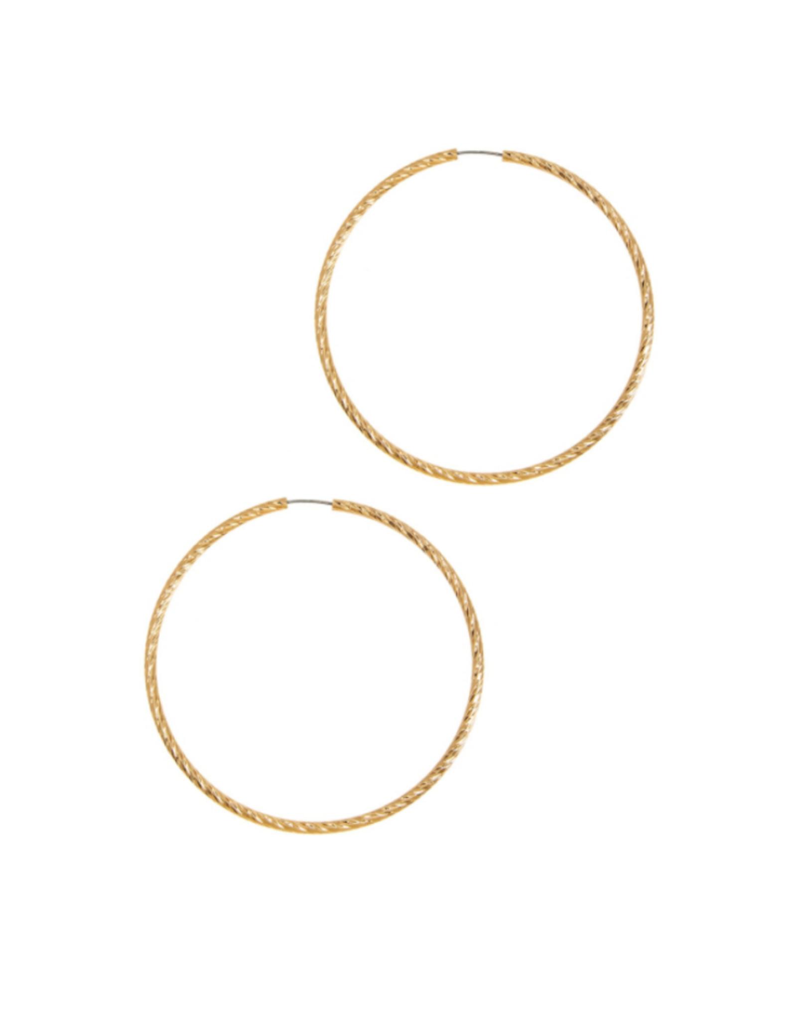 EARRINGS-TEXTURED HOOP 80MM