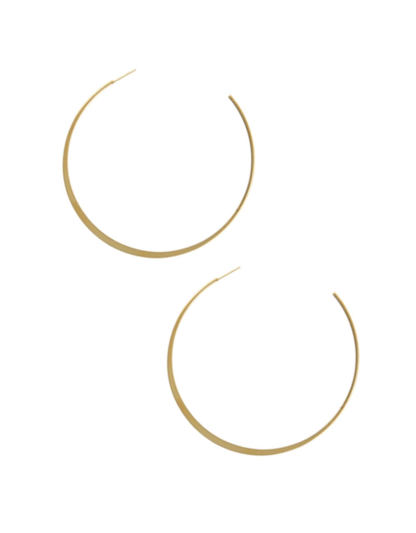 EARRINGS-GOLD DIPPED THICKER BOTTOM HOOP