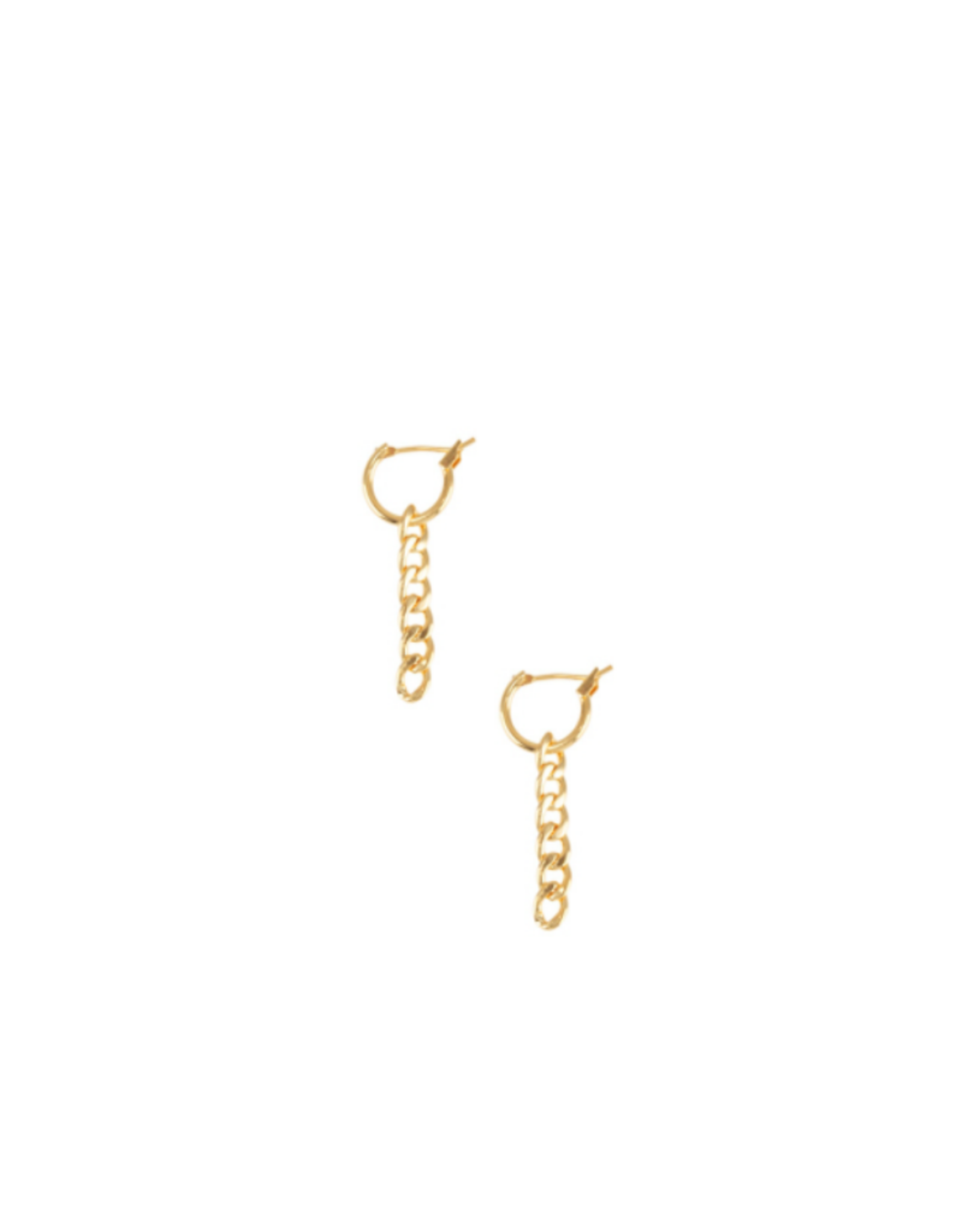 EARRINGS-GOLD DIPPED SM HOOP W/CHAIN