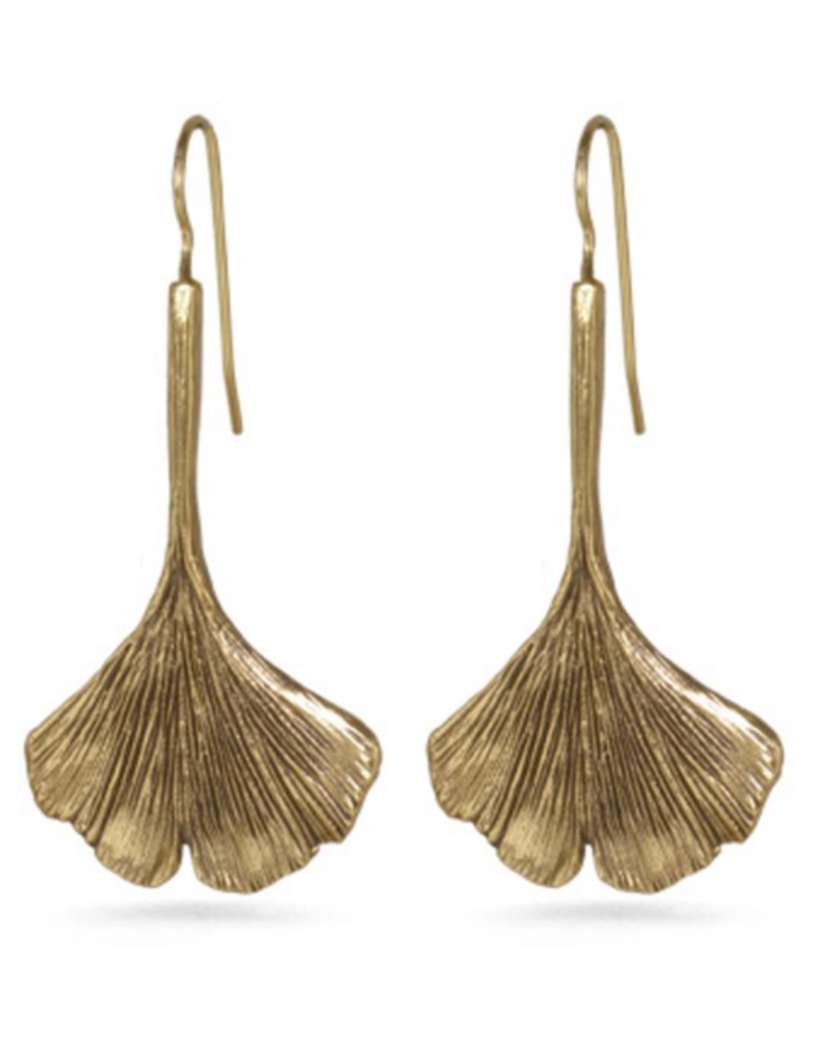 Faire/Museum Reproductions EARRINGS-GINGKO LEAF, RUSTIC GOLD
