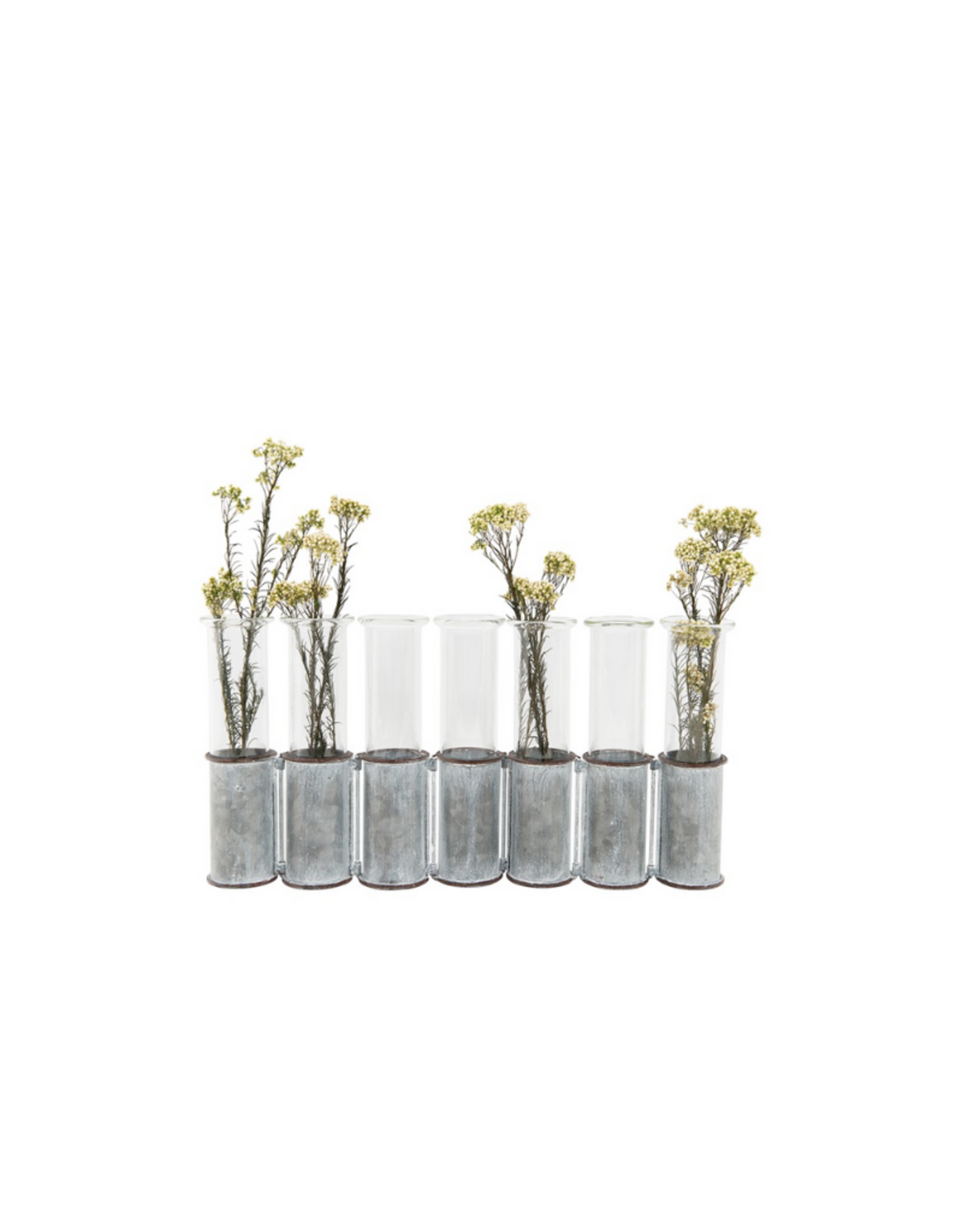 VASE-METAL STAND W/ GLASS (SET OF 8)