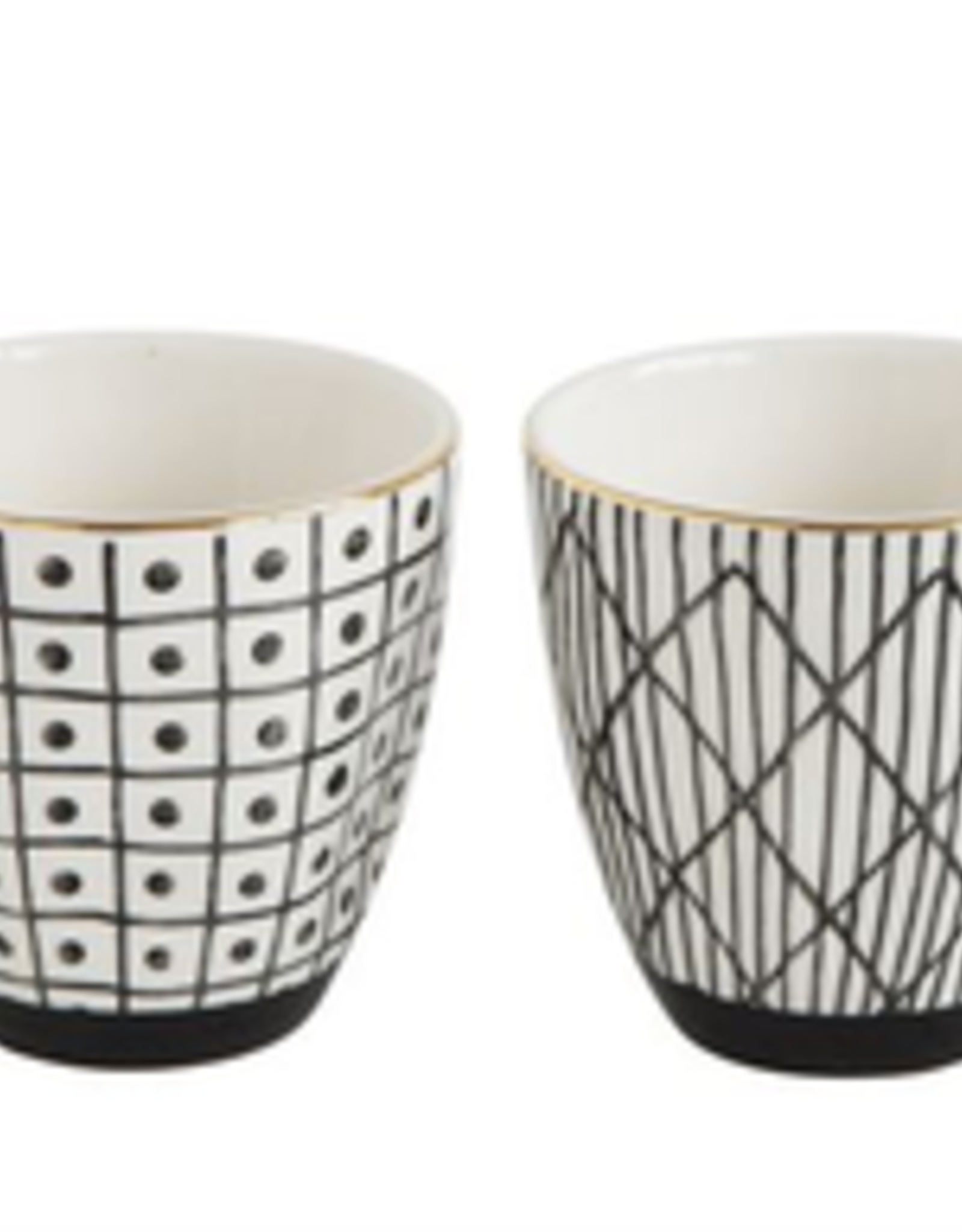 CUP-BLACK PATTERN W/ GOLD, STONEWARE