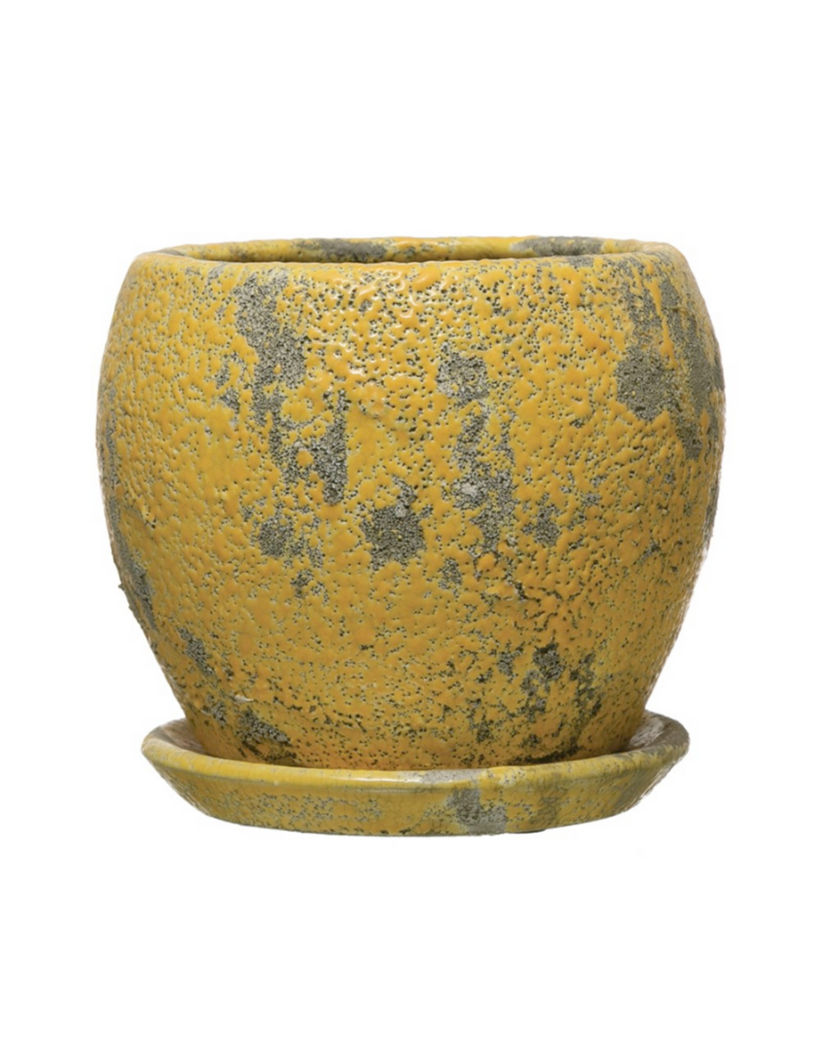 PLANTER W/SAUCER-YELLOW, TERRA-COTTA, HOLDS 4' POT