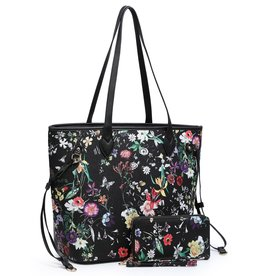 BAG-TOTE BLACK FLORAL W/WALLET