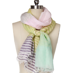 Faire/Saachi SCARF-PINK/GREEN STRIPES LINEN/COTTON